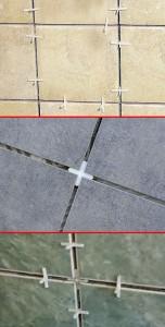 Options pour l'installation de croix lors du collage de carreaux
