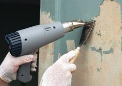 enlever la vieille peinture avec un sèche-cheveux de bâtiment