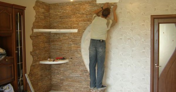 Décoration murale avec pierre artificielle décorative