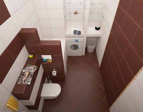 petites tuiles diagonales de salle de bain