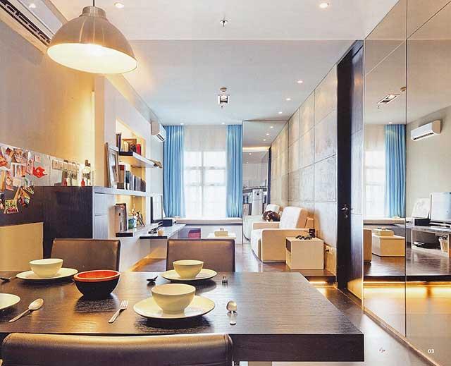 design de petits appartements miroir