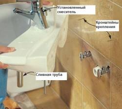 installation du lavabo sur les supports