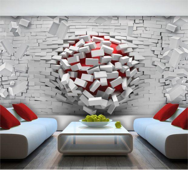 Peinture murale 3D à l'intérieur: 8 conseils pour choisir et utiliser + photo