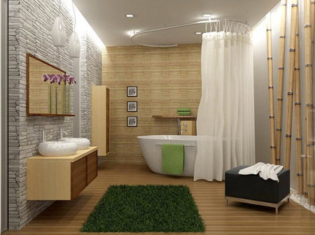 linoléum pour murs de salle de bain
