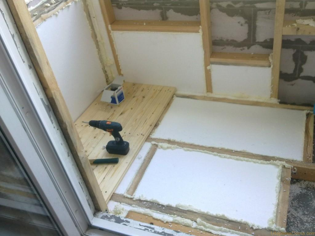 polystyrène pour l'isolation du sol sur le balcon